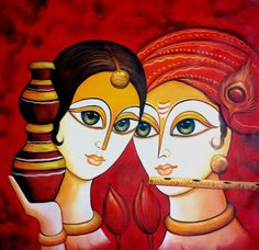 Buy Radha Krishna with Matki by Pallavi Jain@ Rs. 3790. Code:ART_PIJN88_3030 - Shop Art Paintings online in India.