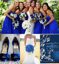 Aja & Jasons bridal party colors~BEAUTIFUL royal blue, navy blue bridesmaid dresses--2014 fall wedding in AU