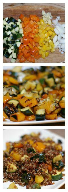 Red Quinoa with Grilled Summer Veggies   5DollarDinners.com