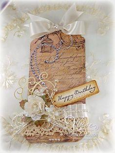 The Shabby Tea Room: Birthday Bash . inspiration day six! Birthday Tags, Happy 2nd Birthday, Shabby Chic Cards, Handmade Gift Tags, Paper Tags, Kraft Paper, Pretty Box, Vintage Tags, Copics