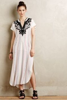 Twelfth Street by Cynthia Vincent Amate Embroidered Caftan #anthrofave