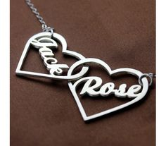 Sterling Silver Name Necklace with Two Dangling Hearts