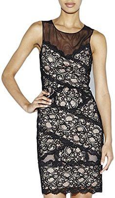 Nicole Miller Womens Amy Criss Cross Stretch Lace Dress