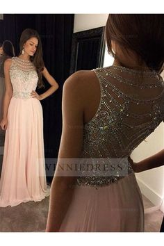 Shop discount A-line Jewel Neckline Beaded Bodice Floor Length Chiffon Illusion Back Pink Evening Prom Dress WNED0181
