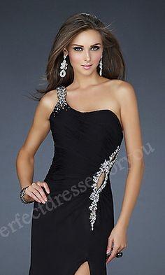 Long Chiffon Sleeveless A-Line Black Evening Dress Perfect2339