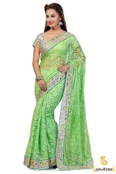 Amazingly stunning looking green color party saree with discount offer online is worth to shop online. It is adorned with nice cut worked silver border. #partywearsaree, #netsaree, #onlinesareeshopping, #embroiderysaree, #discountoffer, #georgettesaree, #bollywoodsaree, #actressstylesaree, #pavitraafashion, #utsavsaree, #greenpartysaree http://www.pavitraa.in/store/party-wear-saree/ callus:917698234040