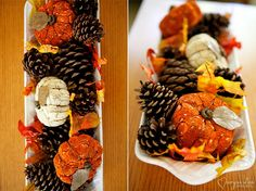 pumpkins, pinecones, and fake leaves