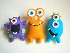 Sewing Toys Plush toys Felt toys Monster Monster Friends by atelierbloom - Monster Dolls, Monster Room, Sock Monster, Sewing Toys, Sewing Crafts, Sewing Projects, Monster Party, Felt Crafts, Kids Crafts