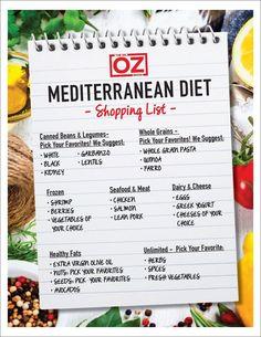 Mediterranean Diet is the way to go olive oil diet health whole grain snack smart Mediterranean Diet Shopping List, Mediterranean Diet Meal Plan, Mediterranean Recipes, Mediterranean Style, Dieta Dash, Smothie, Med Diet, Dash Diet, Diet Meal Plans