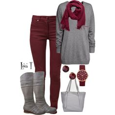 Gray & Burgundy, created by lkthompson on Polyvore
