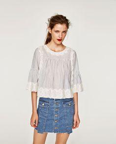 Immagine 1 di TOP A RIGHE CON PIZZO di Zara 25 euro