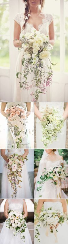 Gorgeous cascade (trailing) bouquets. So romantic.