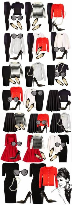 Audrey Hepburn style outfits from small capsule wardrobe. * I love the Audrey Hepburn look* Audrey Hepburn Outfit, Audrey Hepburn Inspired, Audrey Hepburn Fashion, Mode Outfits, Casual Outfits, Fashion Outfits, Womens Fashion, Fashion Trends, Fashion Ideas