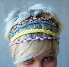 Headbands!  No how to linked.  I'm thinking you could use old tee's or jersey fabric, cut into strips and braid.