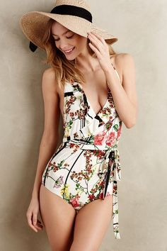 Beautiful Floral Single Piece Summer 2015 Swim suit in a romper shape and look. Lovely creative design.
