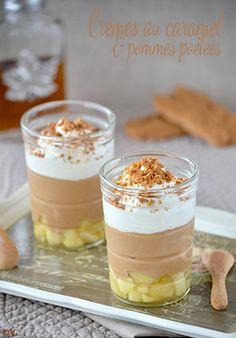 Crèmes au caramel, pommes poêlées au sirop d'érable & crème fouettée