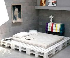DIY pallet white platform bed, haha this is funny my fiancé had a pallet bed because he didn't want to buy a bed frame:) Pallet Bedframe, Diy Pallet Bed, Wooden Pallet Furniture, Pallet Ideas, Wooden Pallets, Pallet Projects, Bed Pallets, Pallet Wood, Pallett Bed
