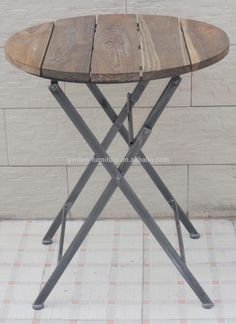 round table antique metal wood folding table view wood folding