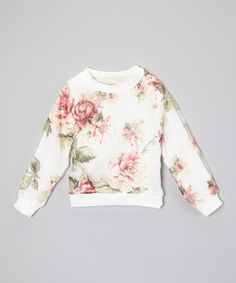 This White & Pink Flower Sweater - Toddler & Girls by Kid Swag is perfect! #zulilyfinds