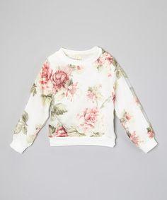 White & Pink Flower Sweater - by Kid Swag #zulilyfinds