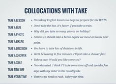 Collocations with 'Take'.
