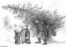"""""""A scene from Harry Potter and the Philosopher's Stone by JK Rowling; before Christmas, the kids meet Hagrid carrying a tree to the Great Hall, he's referred to as looking like a walking tree or tree with legs or something..."""" (A Walking Tree by TomScribble on DeviantArt)"""