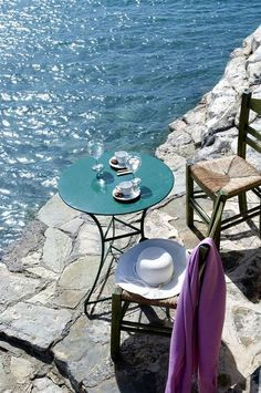 Crete -- coffee, slowly savored seaside -- we don't rush, we enjoy.