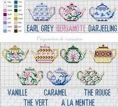 Cross stitch chart tea pots and teas
