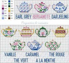 Cross stitch chart tea pots and teas