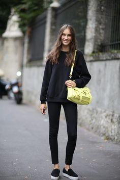 Dakota All black + yellow Proenza Shouler PS1 Bag MFW 2014 #streetstyle