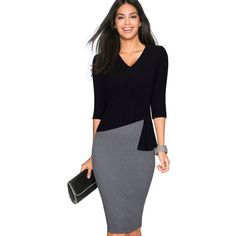 Women Casual Wear To Work Office Sheath Fitted Pencil Dress Autumn... via Polyvore featuring dresses, blue body con dress, bodycon pencil dress, bodycon dress, fitted sheath dress and patchwork dresses