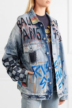 Balenciaga Oversized printed denim jacket clothes i like and would wear Balenciaga T-shirt, Balenciaga Clothing, Painted Denim Jacket, Painted Jeans, Diy Jeans, Denim Fashion, Fashion Models, Fashion Goth, Fashion Outfits