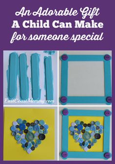 SIMPLE Popsicle Stick Frame... with a button heart. Perfect DIY gift for kids to make for Mother's Day or Father's Day. Would be a great teacher gift too!