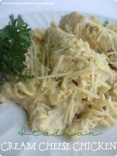 Italian Cream Cheese Chicken ~ SO EASY  4 chicken breasts,  1 packet Zesty Italian dressing seasoning, 1 8 oz. cream cheese (softened), 1 cans cream of chicken soup;   Cook on low in crockpot for 4- 6 hours. I always throw in frozen chicken breasts at around 11 and it is ready by 5.  (If sauce is too thick, add a little milk.)   Serve over pasta or rice
