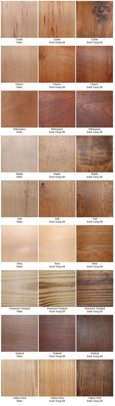 Pure vs Dark Tung Oil on several types of wood Woodworking Techniques, Woodworking Projects, Woodworking Skills, Woodworking Shop, Got Wood, Into The Woods, Diy Holz, Wood Colors, Wood Species