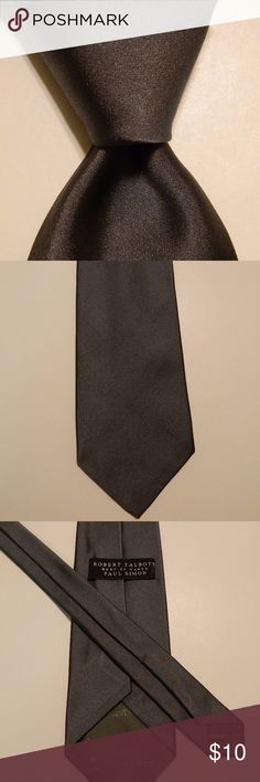 """ROBERT TALBOTT Best of Class Necktie SOLID Gray ROBERT TALBOTT Best of Class Men's 100% Silk Necktie Designer SOLID Gray EUC  ·        Brand: Robert Talbott (Best of Class) ·        Style: Neck Tie ·        Color: Gray ·        Attachment: Tied ·        Length: Classic 60"""" ·        Width: Classic 3 5/8"""" ·        Pattern: Solid ·        Country/Region of Manufacturer: United States ·        Condition: Excellent Used Condition (There are a couple of very tiny spots that will probably come out…"""