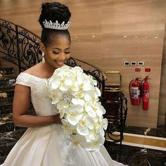 Bride looking all shades of gorgeous Dress/Accessories and bouquet Makeup Hair Event Stunning Wedding Dresses, Wedding Bridesmaid Dresses, Gorgeous Dress, Wedding Gowns, Hair Wedding, Bridal Hair Updo, Bridal Tiara, Bridal Hair And Makeup, Pelo Rasta