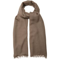 Brunello Cucinelli Fine-knit cashmere and silk-blend scarf ($995) ❤ liked on Polyvore featuring accessories, scarves, light brown, fringe shawl, brunello cucinelli scarves, fringe scarves, cashmere scarves and brunello cucinelli