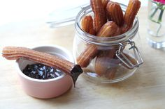 Celebrate Cinco de Mayo with fresh, homemade churros dipped in chocolate. Mexican Dishes, Mexican Food Recipes, New Recipes, Snack Recipes, Cooking Recipes, Favorite Recipes, Snacks, Ethnic Recipes, Cooking Tips