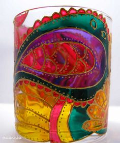 Ultra beautiful paisley glass (or candle holder). Hand-painted. #glass