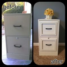Refinishing a metal filing cabinet. It looks like they attached picture frames to the front of the drawers - clever!