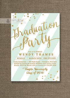 Gold & Mint Graduation Party Invitation Gold Glitter Mint Green White Stripes Modern High School College DIY Digital or Printed- Wendy Style