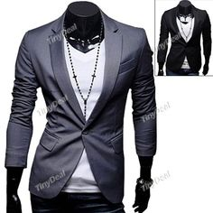 Fashionable Deep Lapel Collar Single Breasted Single Button Casual Slim Suit Coat for Men NMJ-105943