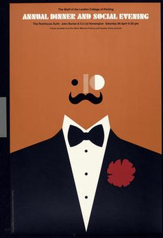 Tom Eckersley, Annual dinner and social evening, man, poster...