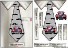 Male card Tie MG Car on Craftsuprint designed by Marijke Kok - Great male card for any occasion. - Now available for download!