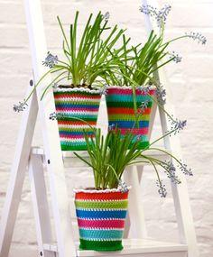 crocheted rainbow pot covers