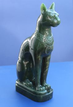 Jade Bastet, the Egyptian Cat goddess is carved from genuine nephrite jade Egyptian Cat Goddess, Egyptian Cats, Ancient Egyptian Art, Stone Sculpture, Sculpture Art, Egypt Cat, Egypt Museum, Le Clan, Cat Statue