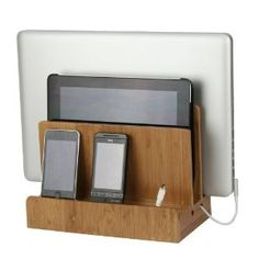 Bamboo Multi-Charging Station; $34; buy wiht a couple of the Monoprice 4-port USB Wall Charger 4.2A for Apple and Android, Black.