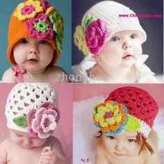 Handmade Baby Toddler Girl Crochet Beanie Hat 100 Cotton 7 Different Designs Love Crochet, Crochet For Kids, Knit Crochet, Newborn Crochet, Crochet Baby Booties, Crochet Beanie Pattern, Crochet Patterns, Crochet Crafts, Crochet Projects