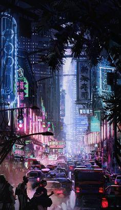 Future City by Lincoln Hughes on ArtStation. Cyberpunk City, Cyberpunk Kunst, Cyberpunk Aesthetic, Futuristic City, City Aesthetic, Futuristic Architecture, Cyberpunk Fashion, City Wallpaper, Scenery Wallpaper